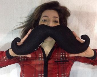 Shaped handmade moustache cushion / neck pillow. Home decor. Movember. Black felt.