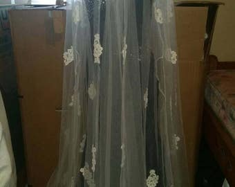 Cloak Whimsical: Netting with lace appliques and satin trim