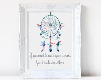 Dream catcher watercolor print, boho,  Inspirational quote, Nursery art, wall art, art print, dream catcher art