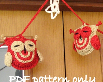 Owl crochet garland pattern. PDF instant download.Cheeky crochet owl bunting photo tutorial.Permission to sell items made from this pattern.