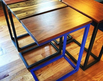 Handmade Custom Metal & Wood C Style End Table