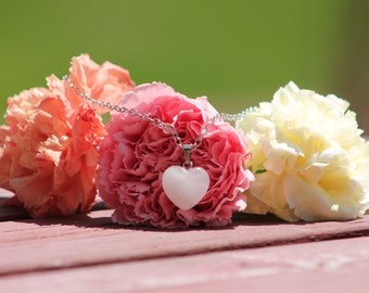 Miniature Moonstone Heart Pendant Necklace