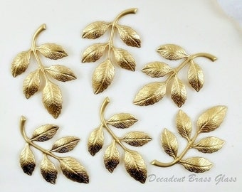 Raw Brass Leaf, Brass Leaves, Wedding Supply, Headpiece Supply, Leaf Stamping, Brass Drop, 36mm x 23mm - 6 pcs. (r324)