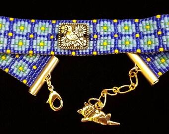 Playful blue bead-woven bracelet