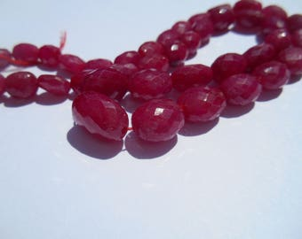 Gemstone Faceted Raspberry Red Ruby Beads, Ovals, graduated, 5.5x7-11x13.5mm