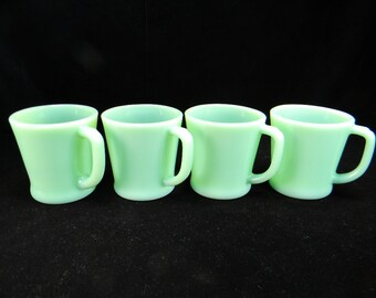 Four Fire King Jadite D Handled Mugs
