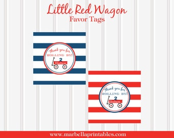 Little Red Wagon PERSONALIZED Printable FAVOR TAGS by Marbella Printables