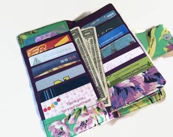 Purple Floral Womens Wallet, 38 Credit Card Holder, Loyalty Card Organizer, Women's Card Wallet, Women's wallets