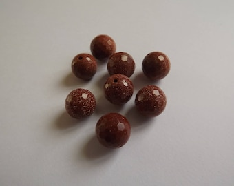 Brown 10 mm faceted glass bead