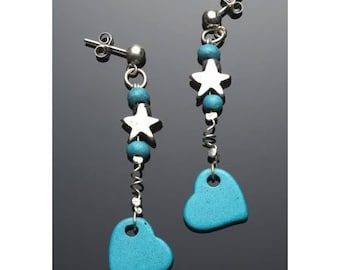 Turquoise Blue Stud Earrings Ceramic Dangle Heart Sterling Silver Holiday Fashion Fun Modern Jewelry