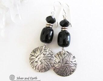 Onyx Sterling Silver Earrings, Black Onyx Earrings, Handmade Sterling Earrings, Silver & Black Earrings, Modern Jewelry, Black Stone Earring