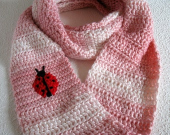 Ladybug Infinity Scarf. Pink striped, crochet circle scarf with a red and black ladybug. Long cowl scarf.