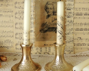 Vintage Two Candlesticks, Brass Candleholder, French Vintage Home Rustic Decor Decoration Ornament, Brass Bronze Candle Holder, Collectibles