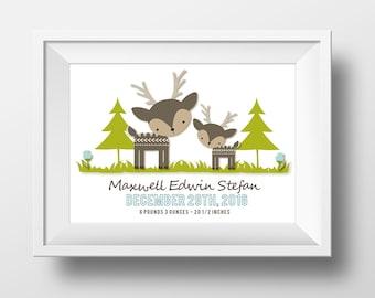 Wee Woodlands, Girl or Boy Custom Birth Stats Print, Baby Woodland Animals Nursery Decor