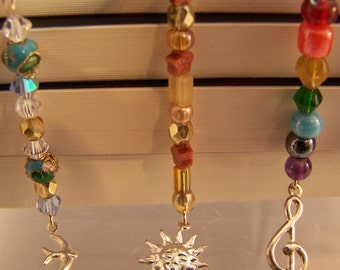 Assorted Bookmarks, Ladybug, Dolphin, Bird w/ Cloisonne & Crystals, Sun w/ Goldstone Stars, Moon w/ Blue Stars, Treble Clef w/ Rainbow Music
