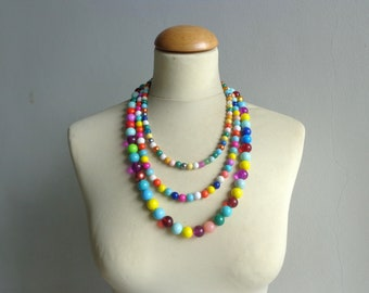 Colorful bib statement necklace
