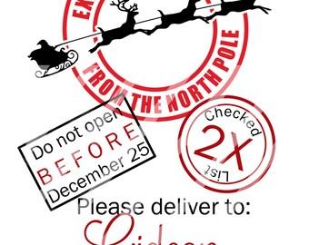 Santa Sacks Christmas Printable Digital Downloads tor creating iron-ons, heat transfer, Scrapbooking, Cards, Personalized DIY YOU PRINT
