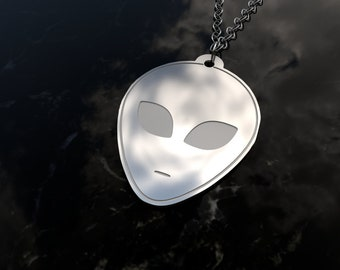Alien pendant necklace in sterling silver - Alien jewelry -  do you believe?