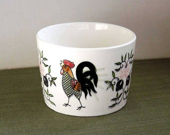 Ceramic Rooster Bowl, Pottery, Butter Crock, Cottage Cheese Crock, Farmhouse Table Decor, Chicken Home Decor, 1950s Vintage Kitchen, Dining
