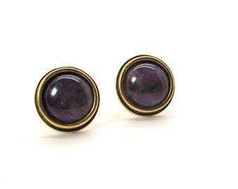 Royal Amethyst Cufflinks V - Purple Cufflinks - 16mm Round Amethyst Cufflinks