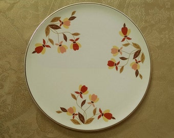 Autumn Leaf Cake Plate - Hall Dinnerware - Jewel Tea - Mary Dunbar - Cupcake Cheesecake & 4 Hall China Autumn Leaf Mugs Cups Mary Dunbar Jewel Tea