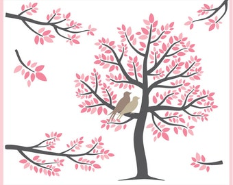 The Pink Tree - Digital Clip Art - tree, branches, and birds