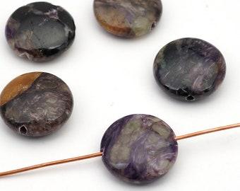 5 pcs charoite lentil beads, opaque purple black, flat round semiprecious stone 16mm