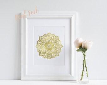 Mandala Print - Gold Foil Print - Yoga Gift - Wall Art - Meditation Print - Gold Mandala - Wall Decor- Inspiring Print - Buddha Art
