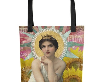 Shine, Grow, Be Sassy Inspirational Collage Tote
