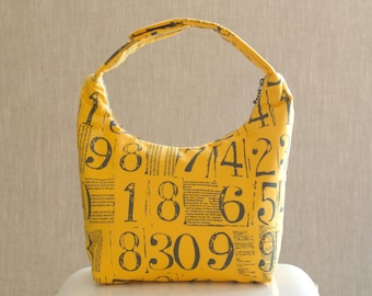 Lunch Bag, Fabric Lunch Tote, Insulated Lunch Bag, Lunch Bag for Women, Work Lunch Bag, Figures By Brigitte Heitland Numbers and Print