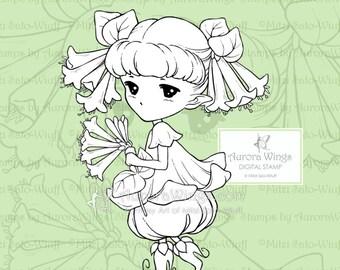 PNG Trompete Geißblatt Sprite - Aurora Flügel digitalen Stempel - süße Blumen-Fee - Fantasy Linie Kunst für Kunst und Handwerk von Mitzi Sato-Wiuff