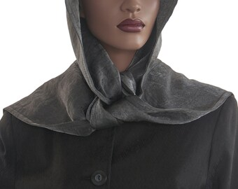 Steely Grey Hood Wrap Scarf Head Hoodie Faux Silk Polyester Head Hood Womens Hood Wrap Hood Handmade