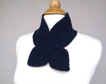 Cashmere Ascot Scarf, Navy Blue, Pull Through Keyhole, Small Neck Scarf, Hand Knit Neck Warmer