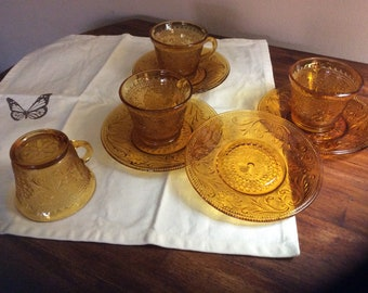 Amber Indiana Glass Teacups and Saucers