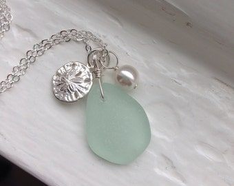 Sand Dollar and Genuine Sea Glass Necklace
