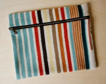 Wool iPad Case in Multicolor Stripe Pattern / Wool Diaper Clutch /  iPad Sleeve / Reader Case