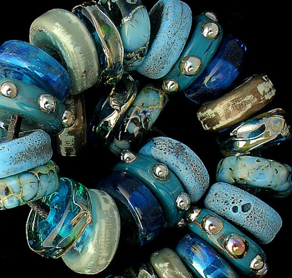 Handmade Lampwork Beads Beach Jewelry Rustic Lampwork Blue Beads For Jewelry Necklace Bracelet Jewelry Supplies Organic Beads Debbie Sanders