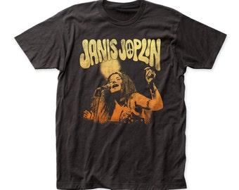 Janis Joplin Live Soft Fitted 30/1 Cotton Tee (JOP02) black