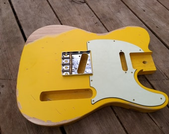 TV Jones Yellow Heavy Relic Vintage tele Guitar body fits OEM 2 3/16th pocket Nitrocellouse light finish for fender project
