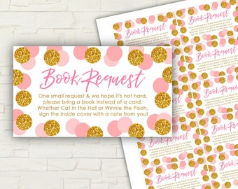 Pink and Gold Baby Shower - PRINTABLE - Book Request - Cards - INSTANT DOWNLOAD - Please Bring A Book - Gold - Glitter - Baby Shower - 0112