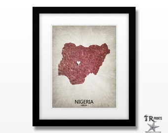 Nigeria Map Art Print - Home Is Where The Heart Is Love Map - Original Personalized Map Art Print Available in Multiple Size & Color Options