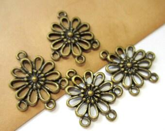 20 pc. Antiqued bronze connectors Tibetan style jewelry findings 23mm x 19mm jewelry dangles 8171Y (SR8)