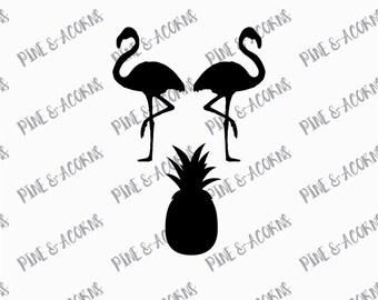 Flamingo Pineapple SVG File, Vinyl cut