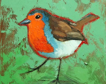 Bird painting 298 Robin 12x12 inch portrait original oil painting by Roz