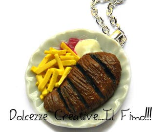 flat collar with a slice of French fries meat - with ketchup and mayonnaise - Handmade - miniature - gift idea