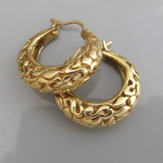 14 k Gold Hoop Earrings Gypsy Gold Earrings Solid Gold