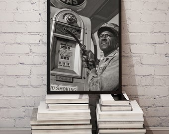 Old Gas Station Photo, Old Gas Pumps, Wall Decor, Poster, African American, Fun Photo, Black and White, Gift For Him, Father's Day