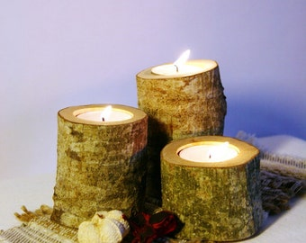 Log candle holder, Rustic candle holder, Wood tealight holder, Wooden candle holder, Rustic home decor, Rustic wedding, Woodland baby