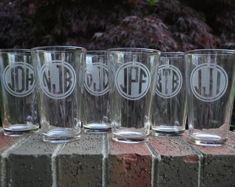 Personalized Etched Pint Glasses Laser Engraved Monogram- High Quality Laser Engraved Glassware 16oz Beer Pint Glasses - Great Gift Idea!
