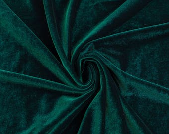 Princess HUNTER GREEN Polyester Stretch Velvet Fabric by the Yard, Half Yard, Sample - 10001